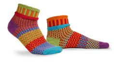 'Primrose' Ankle Socks - cotton multipatterned and colorful mismatched socks. Represented at Human Arts Gallery in Ojai, CA. Solmate Socks, Ankle Socks, Funky Socks, Crazy Socks, Large Womens Shoes, Ber Months, Sock Shop, Cotton Socks, American Made