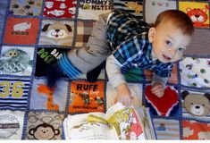 thanks to new sewing machine this is my next project. baby t-shirt quilt for Logan!