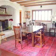 updated kitchen with the new rug: #rugsusa winsdor overdyed rug. Rp from @amyrenea #arearug #kitchenmakeover #interiordesign #homedecor #vintagerug #overdyedrug #pinkrug #naturalhomedecor