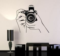 Vinyl Wall Stickers Photo Photography Photograph Journalist Decal Unique Gift is part of Wall stickers bedroom OUTDOOR use and will last at least up to 5 years, this type of quality you won` - Simple Wall Paintings, Creative Wall Painting, Wall Painting Decor, Art Projects For Teens, Diy Art Projects, Wall Murals, Wall Art, Wall Drawing, Vinyl Wall Stickers
