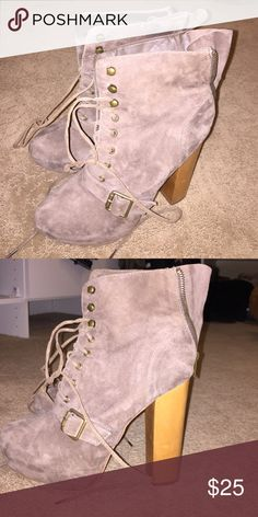 Stilleto platform shoes Suede material with a wooden heal that ties in the front and zips up in the back Steve Madden Shoes Platforms