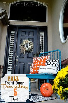 tatertots & jello | Last Minute Decorating: 5 Tips to a Pretty Fall Front Door and Porch