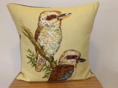 Kookaburra Cushion Cover Kingfisher Pillow Cover Upcycled Tea Towel Cushion Australian Birds Australiana House Warming Mothers Day Gift by Lapideum on Etsy