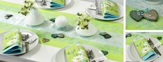 Tischdekoration zur Hochzeit in Kiwi und Mint mit Vintage-Herzen