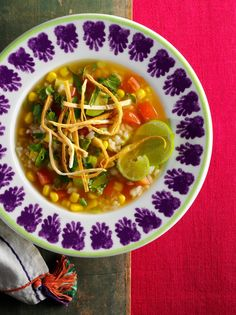 We're expecting a winter storm tomorrow night (after temps in the 80's all through the holidays). And I'm thinking this Mexican Rice Soup, with Tortilla Strips, Rice, Avocado, Corn and Lime Zest (really makes the dish) will hit the spot. TIP: Really only makes enough for two - you'll need to double or triple the recipe for a family. ~~  Houston Foodlovers Book Club