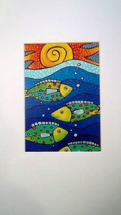 Fish painting - Four Tropical Spotted Fish Under the Setting Sun by SummerHouseGal, 14 95 – Fish painting Art Plastic, Wal Art, Fish Crafts, Laurel Burch, Ocean Art, Fish Art, Summer Art, Whimsical Art, Beach Art