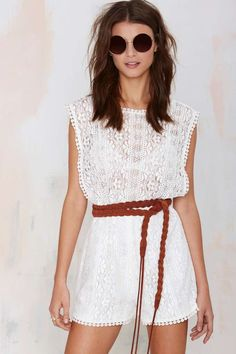 Awesome Lace Romper - Braided leather belt