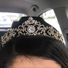 corona de oro Melissa Medina added a photo of their purchase Floral Headband Wedding, Rhinestone Wedding, Gold Rhinestone, Bridal Comb, Bridal Tiara, Bridal Headpieces, Gold Tiara, Gold Crown, Princesa Real