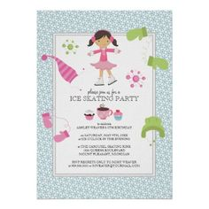 Shop Ice Skating Birthday Party Invitations created by Personalize it with photos & text or purchase as is! Ice Skating Party, Skate Party, 1st Birthday Party Invitations, Birthday Party Themes, Birthday Ideas, Childrens Party, Custom Invitations, Invitations Online, Invitation Design