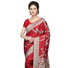 #Red Pure #Banarasi Silk #Saree with Blouse