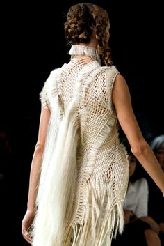 Crocheted dress pleated back