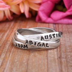 Personalized Mother's Name Ring, Family Ring, Stamped Name Ring, Triple Mother's Ring by Nelle and Lizzy. Perfect Mother's Day Gift.