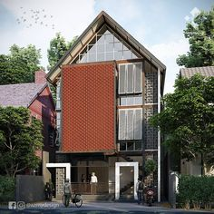 "24 Suka, 2 Komentar - Azhar (@azmydesign) di Instagram: ""Rumah Quran Luas lahan 10 x 17,5 m2 3 lantai, lantai dasar area administrasi, lantai 2 dan 3 ruang…"" Home Fashion, House Design, Cabin, House Styles, Home Decor, Decoration Home, Room Decor, Cabins, Cottage"