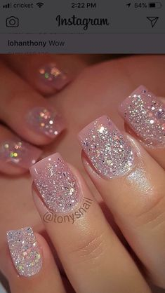 Acrylic Nail Designs Glitter Idea pin ramani on nails page in 2020 pink glitter nails Acrylic Nail Designs Glitter. Here is Acrylic Nail Designs Glitter Idea for you. Pink Glitter Nails, Fancy Nails, Trendy Nails, Cute Nails, My Nails, Sparkly Acrylic Nails, Christmas Nails Glitter, Glitter Wedding Nails, Sparkle Gel Nails
