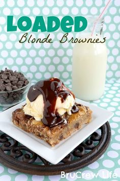 Loaded Blonde Brownies - great way to use up all that extra Easter candy you will have #brownies #recipes http://www.insidebrucrewlife.com