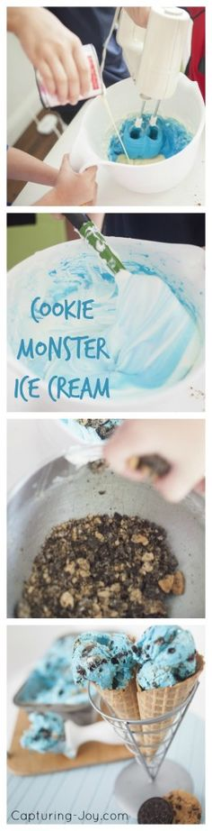 Cookie Monster Ice Cream recipe made without and ice cream machine | KristenDuke.com