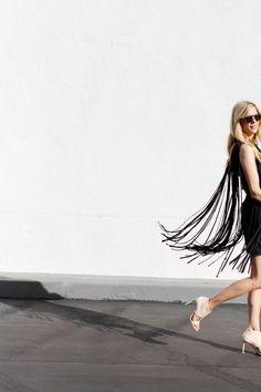 little black fringe dress