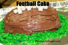 This cake is a hit if we are watching the Super Bowl or have a tailgate party for our local high school football team!  http://fabulesslyfrugal.com/2013/01/football-cake-recipe.html