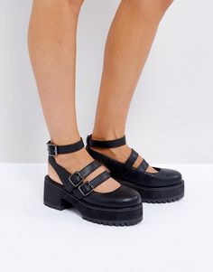 c992c949583 ASOS OVERLOAD Chunky Buckle Platforms - Black Cleats