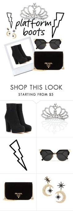 """""""Platform boots"""" by greta-gintilaite ❤ liked on Polyvore featuring Gianvito Rossi, Punch, Tattify, Fendi, Prada and BaubleBar"""