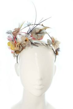 Asymmetric Pastel Floral Crown - Flower and Feather Headpiece- Spring Racing Carnival, Bespoke Headwear, Headband, Melbourne Cup