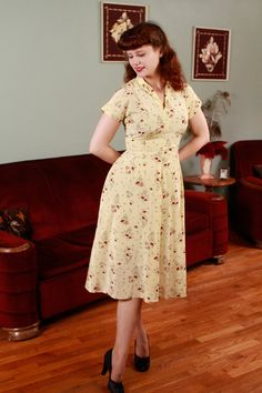 1940s Vintage Sundress  Butter Yellow Rayon Day Dress by FabGabs, $174.00