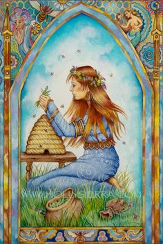 Bees:  #The #Healer, from The Chrysalis Tarot Troupe of Medieval Characters. #Bees.