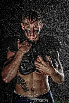 high school football, Senior boys, Senior, athlete, football portrait, shirtless football, muscles, sportrait, sports portrait, football player, cool lighting, shirtless, jock, high school football, locker room, sports photography, water, rain, effects