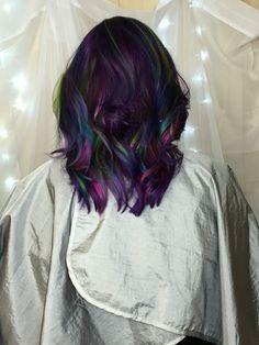 Bright goldwell elumen oilslick hair purple blue teal green pink @all