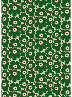 The classic Pieni Unikko pattern decorates this printed cotton fabric. Marimekko's famous poppy pattern Unikko was born in 1964 in a time when the design house's collections featured mostly abstract prints. Designer Maija Isola wanted to creat Motifs Textiles, Textile Patterns, Flower Patterns, Print Patterns, Pattern Design, Print Design, Marimekko Fabric, Large Prints, Lino Prints