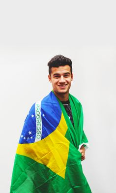 Anfield Lens : Photo  Philippe Coutinho with the flag of Brazil  Liverpool are so lucky to have him!