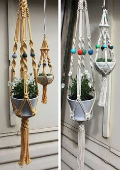 Macrame plant holders I remember these from being a kid and have tried to make something similar I want to use recycled tshirt yarn for them and let them look shabby chic LOVE THIS