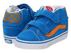 3af0184600 Vans kids mid skool 77 v infant toddler brilliant blue flame orange