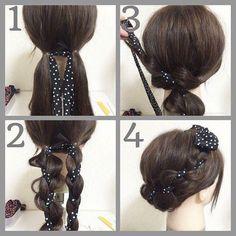 Hope my hair is long enough to try this now Work Hairstyles, Scarf Hairstyles, Pretty Hairstyles, Beautiful Hairstyle For Girl, Love Hair, Hair Arrange, Hair Dos, Hair Designs, Hair Hacks