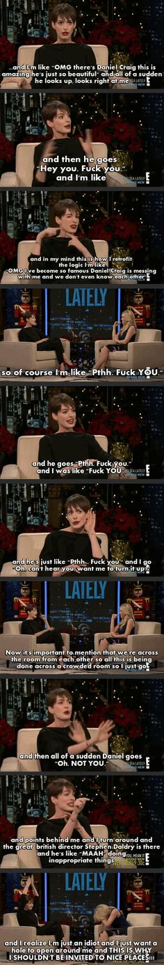 "Anne Hathaway Talking About Her Most Embarrassing Moment On ""Lately"" Show."