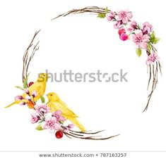 Watercolor spring round wreath , yellow bird Canary on a branch of Sakura, cherries, delicate cherry blossom, floral invitation card. Floral Invitation, Invitation Cards, Invitations, Canary Birds, Cherries, Cherry Blossom, Spring, Delicate, Wreaths