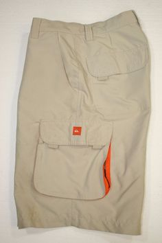 Quiksilver Aussie Tan Orange Trim Swim Boardshorts Cargo Shorts (Men's 32) 2335 #Quiksilver #Cargo