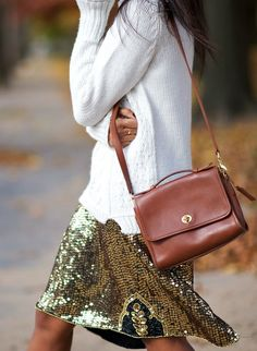 metallic skirt + sweater + vintage coach bag, i have this entire outfit, i just need to make a bigger sequin skirt. Fashion Week, New York Fashion, Street Fashion, Womens Fashion, Bad Fashion, Petite Fashion, Street Chic, Fashion Models, Looks Street Style