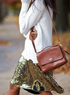 metallic skirt + sweater + vintage coach bag