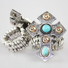 Antique SIlver Cross Stretch Ring Buckaroo Bay Cowgirl Jewelry & Accessories http://www.buckaroobay.com/catalog.php?item=7358