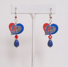 LA Clippers Earrings, Clippers Bling, Blue Pearl, Red Crystal Leverback Pro Basketball Earrings, Basketball Accessory by scbeachbling on Etsy