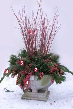 Great way to use garden finds and natural materials! Beautiful...Container Plantings for Wintry Settings | Fine Gardening