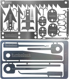 Credit Card Survival Tool Set (2 TOOL Pack): 2 Ultimate Urban Survival Gear Tools- Prepper Supplies, Disaster Emergency Kit with 6pc Picking Tools Kit
