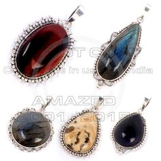 92.5 Sterling Silver Certified Handmade Best Quality Designer silver Low Cost Pendants has a thick plate of silver around the gemstone with Labrodorite,Tiger eye,Black Onyx,Ossion Jasper and other stone agate, jasper.The silver has high silver finish giving very modern look.Given weight is approx.