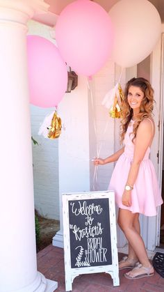 Bridal shower chalkboard. Pink and gold wedding.