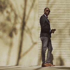 """Not Done""    Bracelets - @OurSaints Cotton Blazer - @Zara_Worldwide Oxford Washed Shirt - @Jcrew Leather Belt - Gap Patterned Trousers - @TopMan Leather Penny Loafers - @ColeHaan Pocket Square - @Jcrew Time Piece - @Timex"