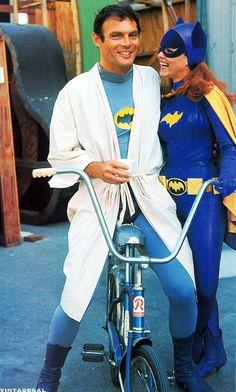 Adam West (Batman) & Yvonne Craig (Batgirl) on the set of Batman, 1967