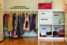 Our Montessori home – the closet from Montessori Works Double Rod Metal Freestanding Closet with Cover…IKEA Hack: KALLAX into toddler closet! Remove one…Tips for Montessori Spaces at HomeMontessori Sewing Works by Aimee of Montessori Works