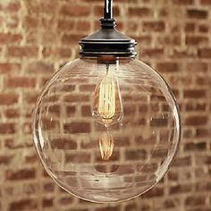 60W Nature Inspired Contemporary Pendant with Transparent Globe Glass Shade - LightSuperDeal.com