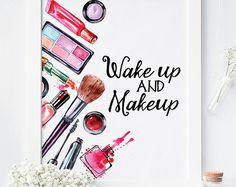 Makeup Room Ideas Salons Wall Art Ideas For 2019 Teen Wall Decor, Teen Wall Art, Room Wall Decor, Makeup Poster, Makeup Illustration, Makeup Rooms, Makeup Art, Wall Decor Pictures, Watercolor Canvas
